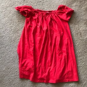 Red, off the shoulder cotton dress